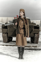 Girl in a Soviet military uniform