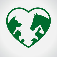 Cat and Dog. Horse and rabbit. Vet. Green
