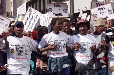 ANC YOUTH MARCH IN PROTEST IN CENTRAL OF JOHANNESBURG.