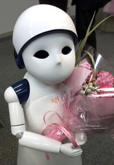 "JAPANESE HUMANOID ROBOT ""POSY"" IS DISPLAYED IN TOKYO."