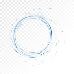Water vector splash isolated on transparent background. blue realistic aqua circle with drops. top view. 3d illustration. semitransparent liquid surface backdrop created with gradient mesh tool.