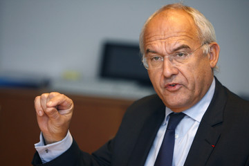 Valeo Chairman and CEO Morin gestures during an exclusive interview at the Reuters Auto Summit in Frankfurt