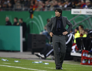 Germany's coach Loew reacts during their World Cup 2010 qualifying soccer match against Finland in Hamburg