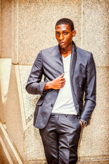 Portrait of African American Teenage Boy in New York