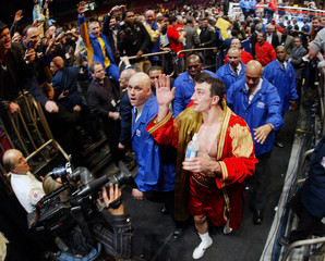 Wladimir Klitschko of Ukraine waves to fans after defeating Calvin Brock of US in heavyweight championship in New York
