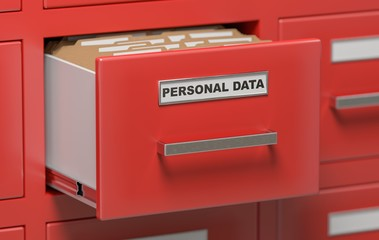 Personal data protection concept. Cabinet full of files and folders. 3D rendered illustration.