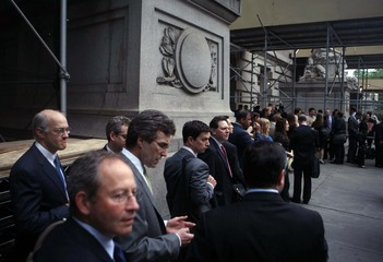 Legal counsellors and media wait to enter U.S. Bankruptcy Court in New York