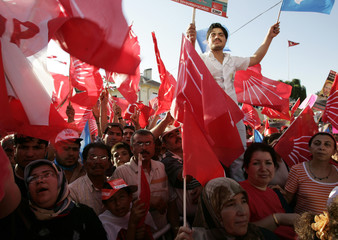 People attend the rally of Turkey's main opposition Republican People's Party (CHP) in the southeastern Turkish city of Gaziantep