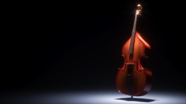 Double bass in dark studio 3D rendering