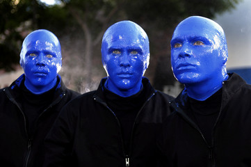 MEMEBRS OF THE BLUE MAN GROUP ARRIVER FOR THE PREMIER OF THE MOTIONPICTURE TERMINATOR 3 IN LOS ANGELES.