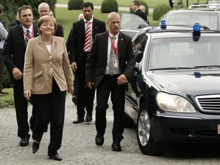 German Chancellor Merkel arrives at EPP meeting in Meise