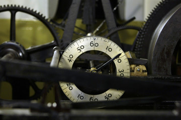 The wheels and cogs of the clock are seen inside the Big Ben Clock Tower above the Houses of Parliament in London