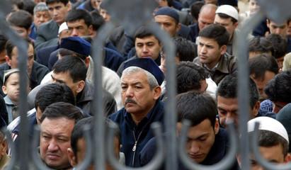 UZBEK MEN GATHER FOR FRIDAY PRAYER IN TASHKENT.