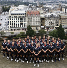 Scotland's Rugby World Cup team captain White stands in front of team mates after a news conference at Edinburgh Castle in Edinburgh, Scotland