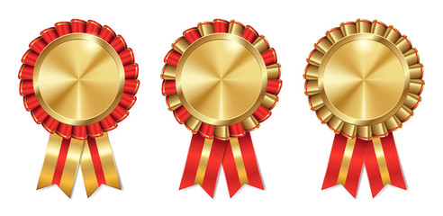 set of three golden and red vector medals, badges or awards