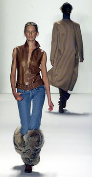 LEATHER VEST AT MICHAEL KORS FALL FASHION SHOW.