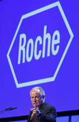 Outgoing CEO of the Swiss pharmaceutical company Roche,  Humer addresses the company's annual shareholders meeting in Basel