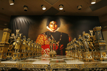 Michael Jackson's marble and parcel-gilt chess set is pictured on display in Beverly Hills