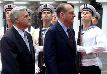 FRENCH PRESIDENT JACQUES CHIRAC REVIEWS TROOPS WITH LITHUANIANPRESIDENT VALDAS ADAMKUS IN VILNIUS.