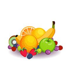Fruit arrangement with green apple, banana, berries, kiwi and orange.