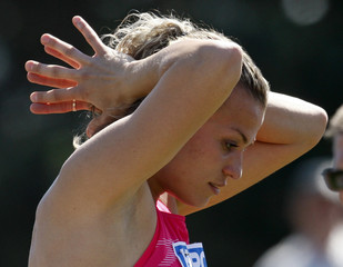 Ukraine's Dobrynska reacts during the shot put event at the two-day international heptathlon meeting in Goetzis