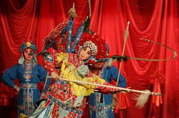 A Beijing opera actress performs in Beijing