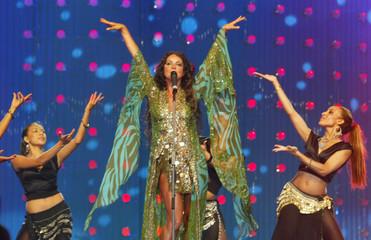 SARAH BRIGHTMAN PERFORMS AT ARAB MUSIC AWARDS IN DUBAI.