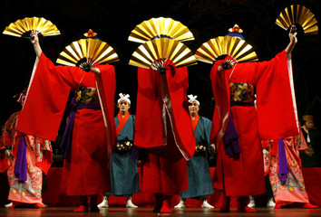 Japanese dancers from the National Theatre Okinawa perform Ryukyuan dance in New Delhi