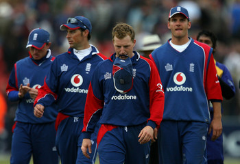 England's Dalrymple walks off with team mates after their one-day international cricket match against Sri Lanka in Chester-Le-Street