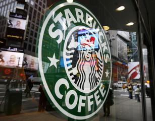 Starbucks logo seen ouside coffee-shop in New York