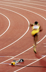 Browning of Jamaica starts during 4x100 metres relay final at world athletics championships, Helsinki.