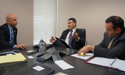 Florida Representative Plasencia discusses efforts to advance LGBT anti-discrimination legislation in a meeting with lobbyist Salzverg and Democratic Representative Diamond in Tallahassee
