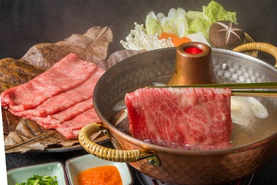 一般的なしゃぶしゃぶ Common shabu-shabu Japanese food