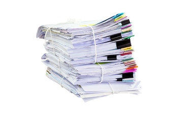 stack of papers on white background