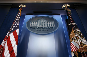 The podium background of the remodelled Brady Press Briefing room is shown at the White House in Washington