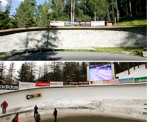 A combination of pictures shows the Horseshoe Corner of the natural ice track in in the Swiss mountain resort of St. Moritz on July 4, 2008 and as Switzerland's team Schmid and Luethi speed down at the two-man Bobsleigh World Cup tournament