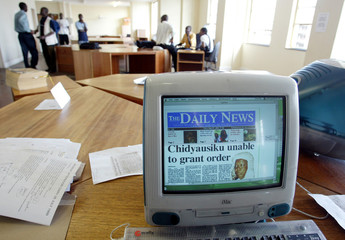 A COMPUTER SCREEN SHOWS THE FRONT PAGE OF THE PRIVATE ZIMBABWE NEWSPAPER THE DAILY NEWS.