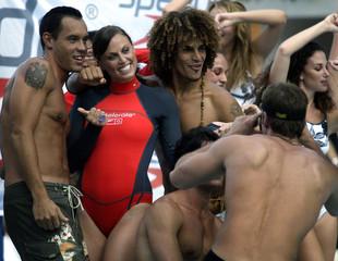 "Olympic gold medallist swimmer Amanda Beard poses at ""Swim Shows Miami"" in Florida."
