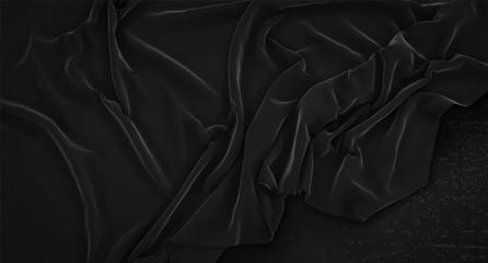 Black Flag Mock Up Wrinkled On Dark Background 3D Render