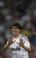 Real Madrid's Kaka gestures during their Santiago Bernabeu trophy soccer match against Rosenborg at Santiago Bernabeu stadium in Madrid