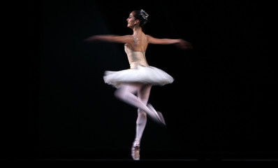 A ballerina from the Royal Ballet performs in George Balanchine's ballet Jewels during a rehearsal at the Royal Opera House in London