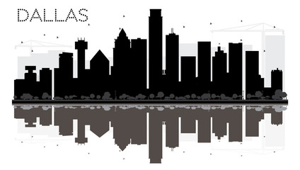 Dallas City skyline black and white silhouette with reflections.