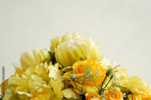 Fake Yellow Flowers For Decoration With White Background Stock