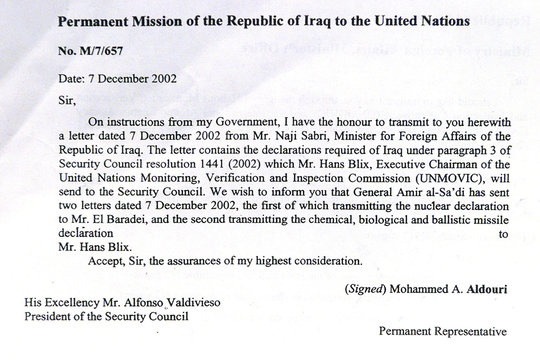 COPY OF COVER LETTER TO UN FROM IRAQI AMBASSADOR.