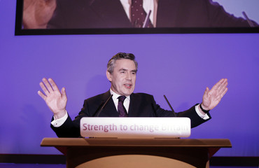 Britain's Prime Minister Brown addresses the annual Labour Party conference in Bournemouth, southern England