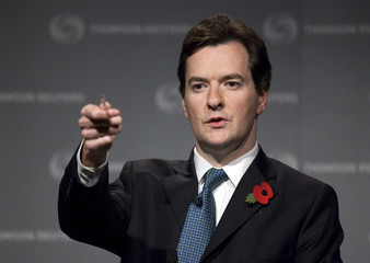 British opposition Conservative finance spokesman George Osborne takes questions
