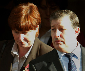 PARENTS OF MURDERED BRITISH SCHOOLGIRL JESSICA CHAPMAN LEAVE THE OLDBAILEY IN LONDON.