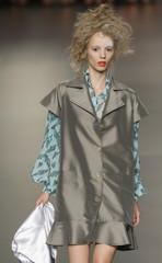 A model wears a creation by designer Antonio Alvarado at Cibeles Madrid Fashion Week Spring/Summer 2010 show in Madrid
