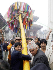 PARTICIPANTS TAKE PART IN THE FESTIVAL OF COLOURS IN KATHMANDU.