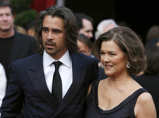 Actor Colin Farrell arrives with his mother Rita at the 80th annual Academy Awards in Hollywood